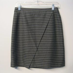 Loft Women's Mini Skirt Gray Striped Sz 2